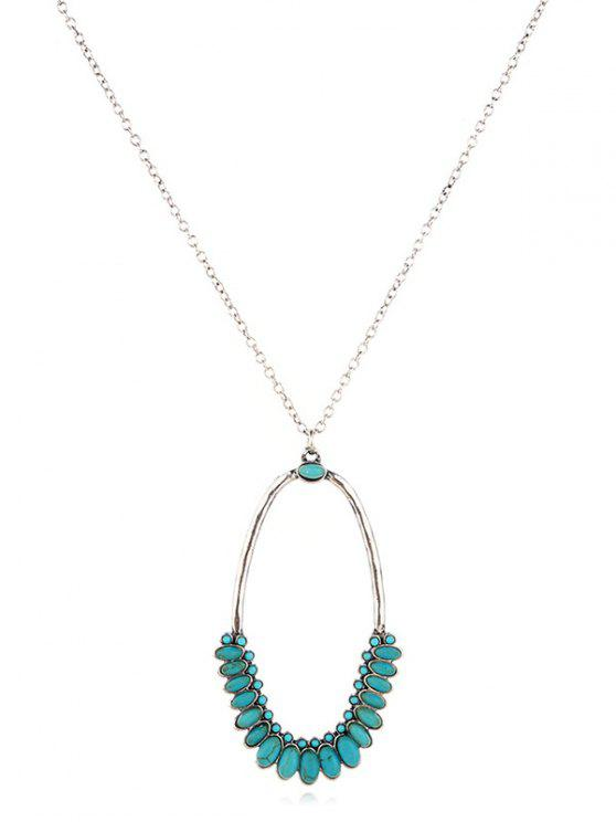 shops Turquoise Decor Geometric Sweater Necklace - SILVER
