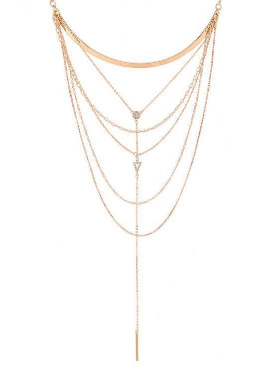 chic Rhinestone Decoration Tassel Pendant Necklace - GOLD