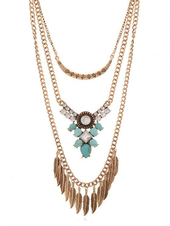 sale Rhinestone Inlaid Alloy Multilayered Necklace - GOLD