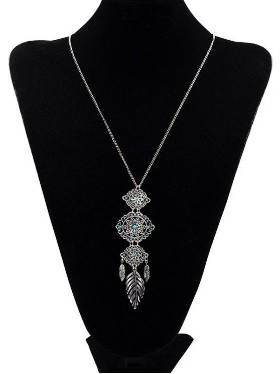 buy Floral Design Pendant Sweater Necklace - SILVER
