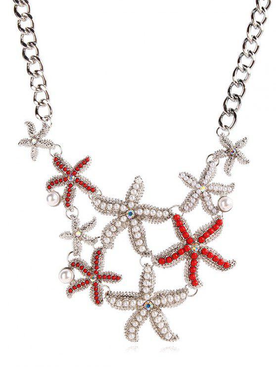 women's Starfish Shape Faux Pearl Pendant Necklace - SILVER