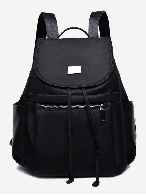 lady Nylon String Design Backpack - BLACK