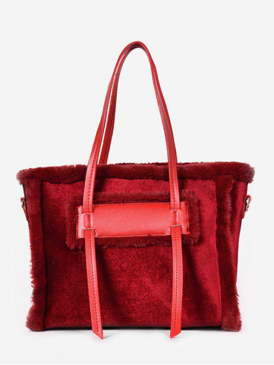 fancy Solid Color Fluffy Leather Design Shoulder Bag - RED WINE