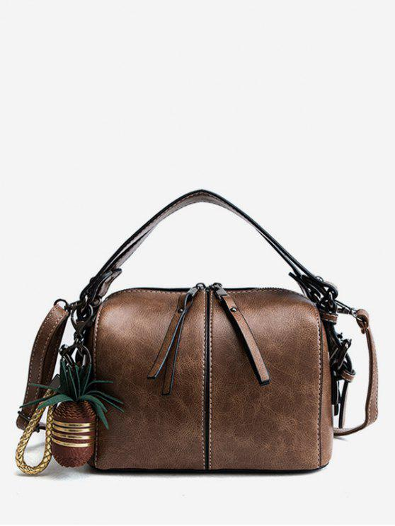 sale Pineapple  Pattern Zipper PU Handbag - BROWN