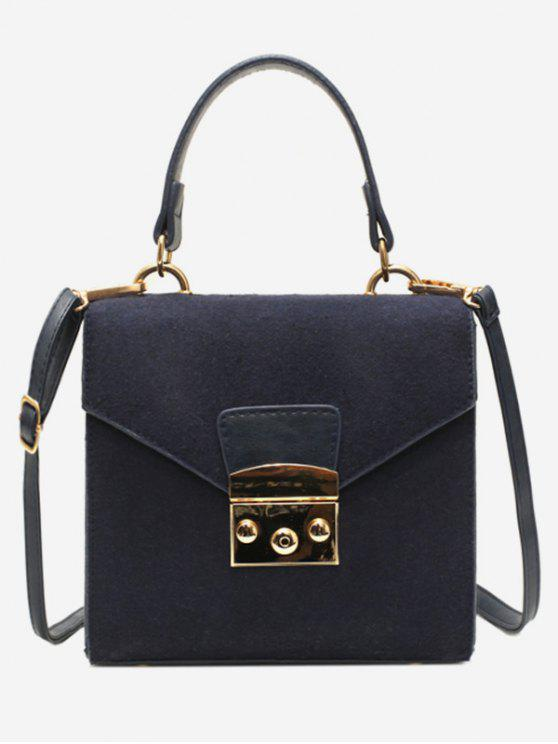 women Suede Leather Decoration Cover Crossbody Bag - DEEP BLUE