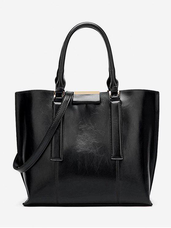 women's Large Capacity Magnet Hook Design Tote Bag - BLACK