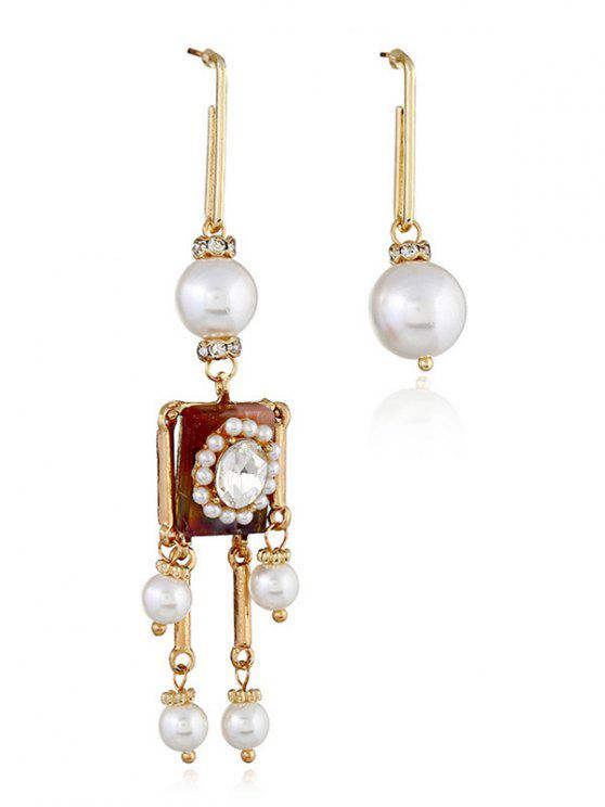 hot Faux Pearl Decoration Robot Earrings - GOLD