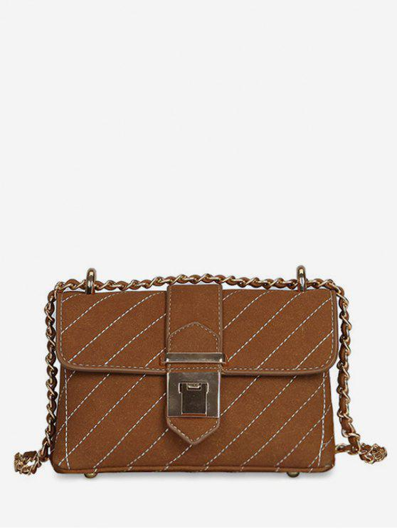 chic Suede Leather Cover Design Crossbody Bag - BROWN
