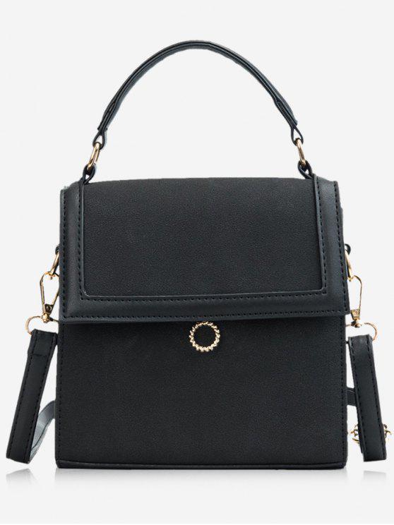 affordable Magnetic Snap Design Crossbody Bag - BLACK