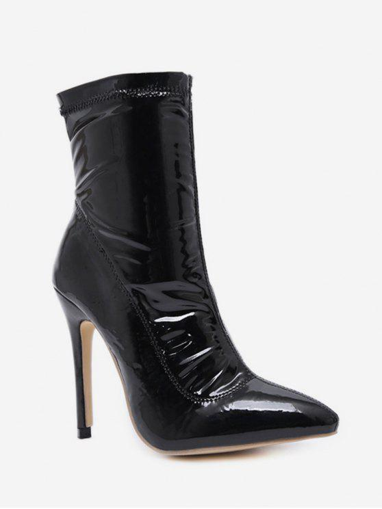 41e716a68d3 33% OFF  2019 Patent Leather Stiletto High Heel Boots In BLACK