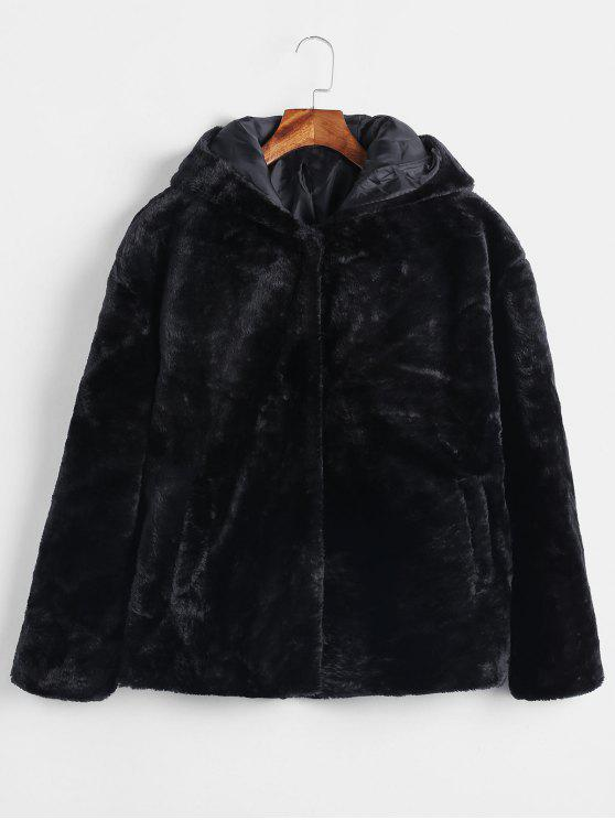 chic Snap Button Hooded Faux Fur Coat - BLACK M