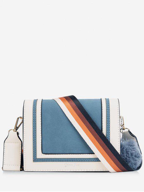 hot Fluffy Ball Multicolor Design Crossbody Bag - PEACOCK BLUE