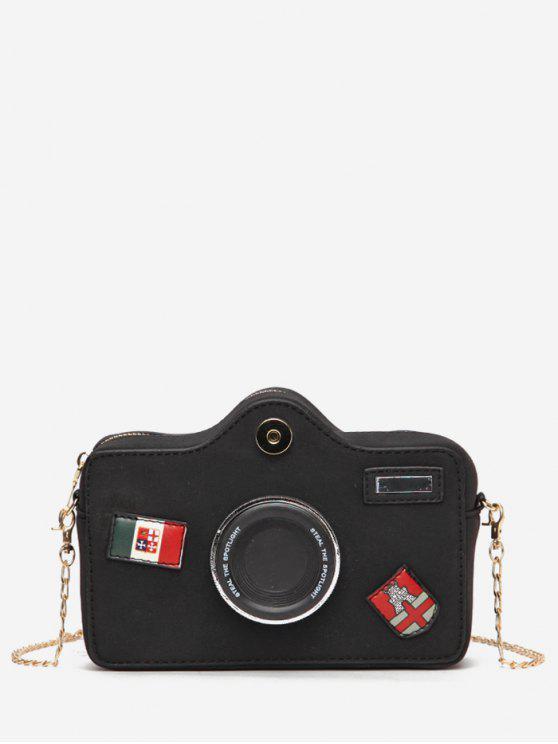latest Camera Pattern Fluffy Link Chain Crossbody Bag - BLACK
