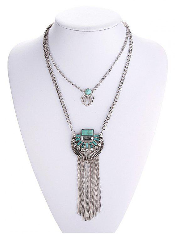 fancy Turquoise Inlaid Tassel Chain Necklace - SILVER