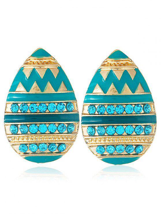 womens Rhinestone Water Drop Shape Earrings - BLUE ZIRCON