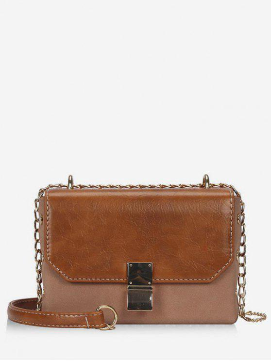unique PU Hasp Design Link Chain Crossbody Bag - BROWN