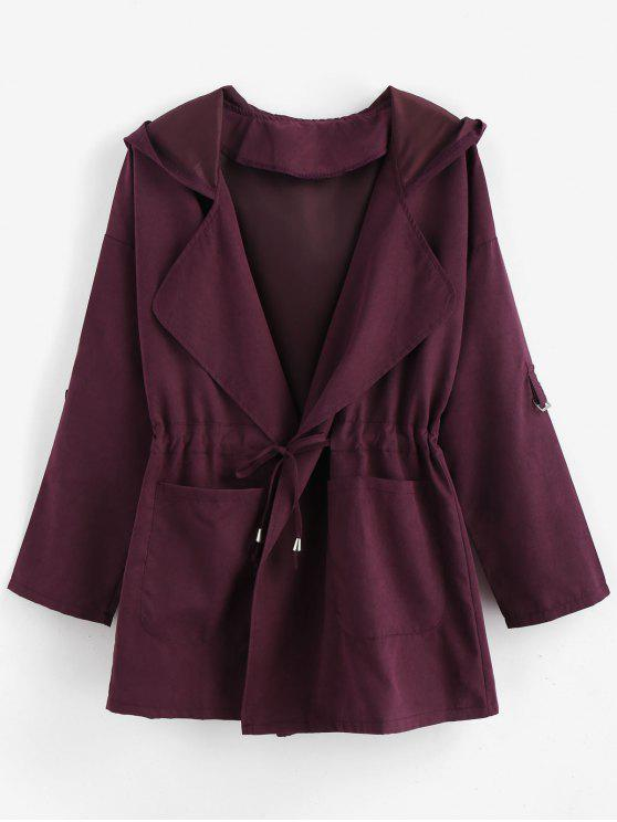 shop Rolled Sleeve Drawstring Hooded Coat - EGGPLANT M