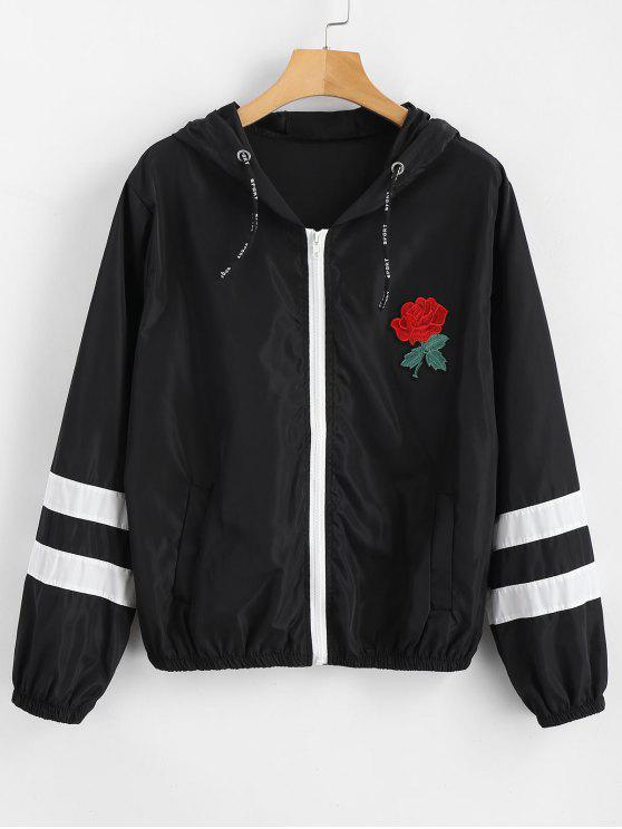 shops Stripes Rose Embroidered Windbreaker Jacket - BLACK S