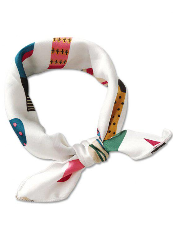 chic Striped Plant Printing Silky Scarf - WHITE