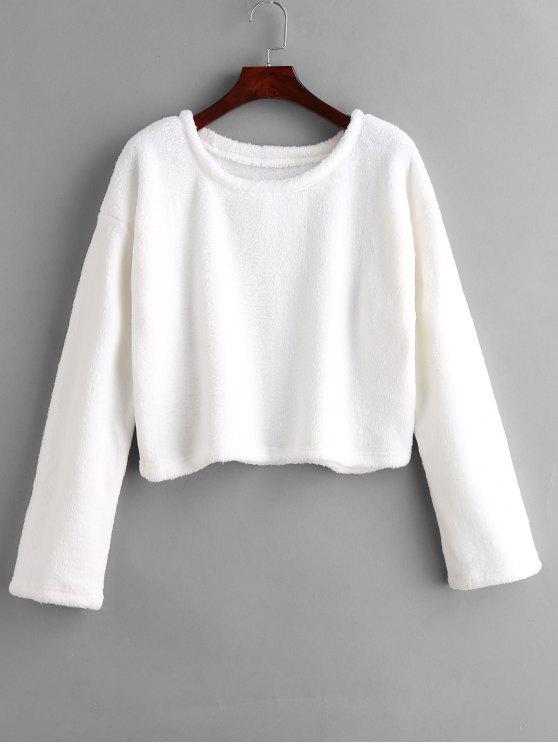 Drop Shoulder flauschiges Sweatshirt - Weiß M