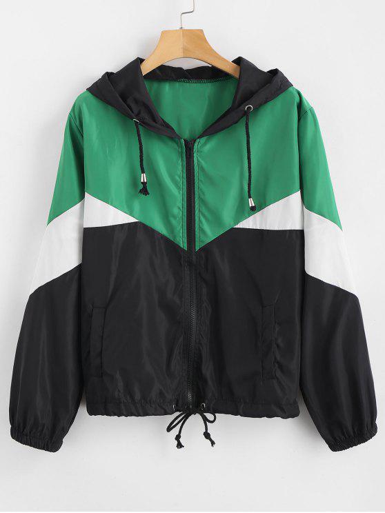 ladies Zip Up Color Block Windbreaker Jacket - MULTI M