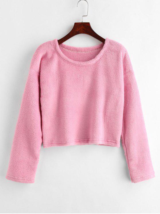 outfits Drop Shoulder Fluffy Sweatshirt - PINK M