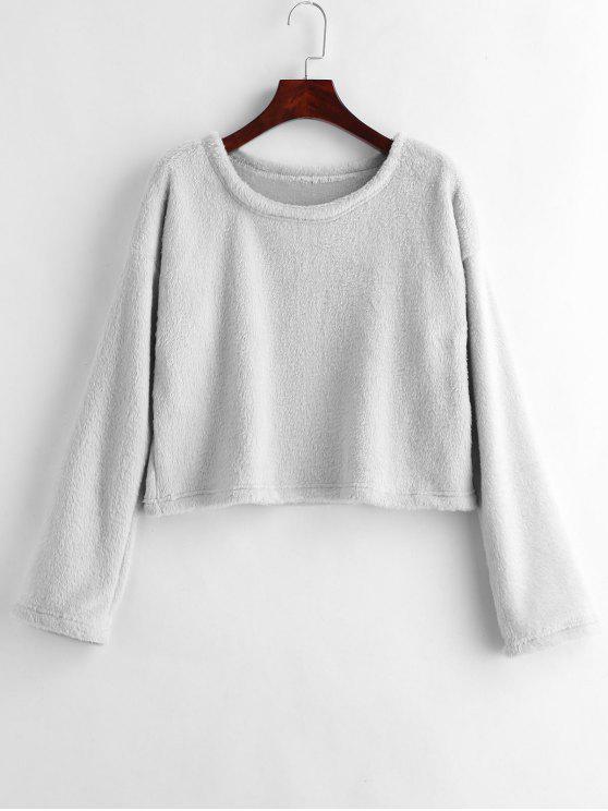lady Drop Shoulder Fluffy Sweatshirt - LIGHT GRAY M