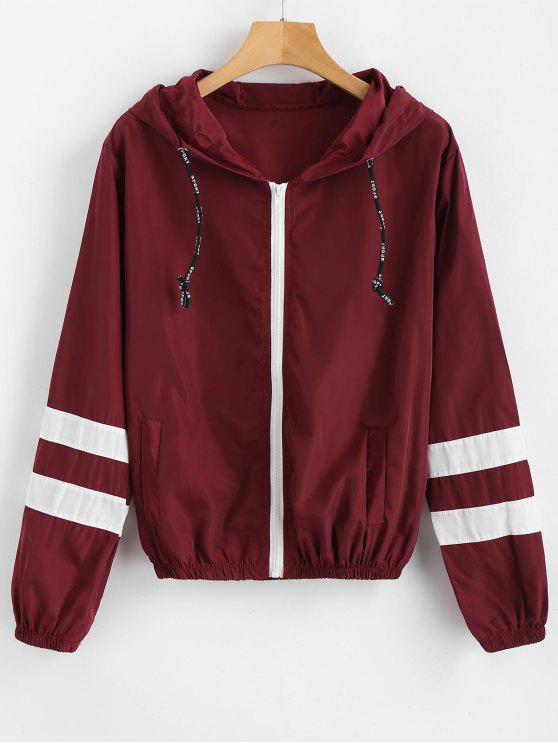 new Stripes Zip Up Hooded Windbreaker Jacket - RED WINE M