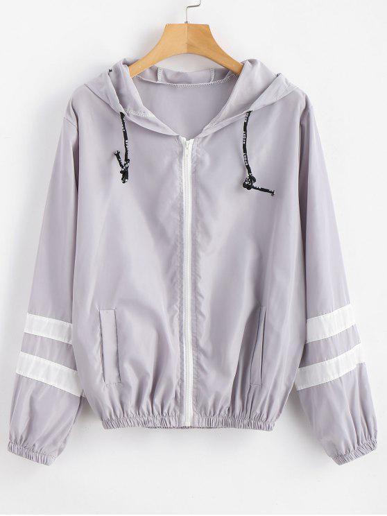 shop Stripes Zip Up Hooded Windbreaker Jacket - LIGHT GRAY L