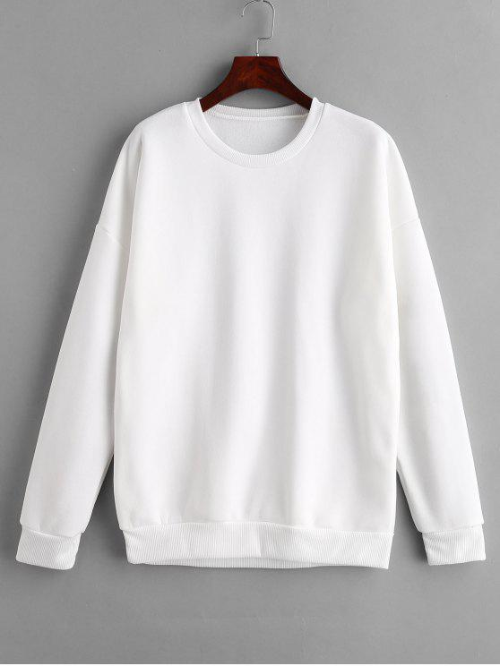 Fleece Lining Tunic Sweatshirt   White M by Zaful