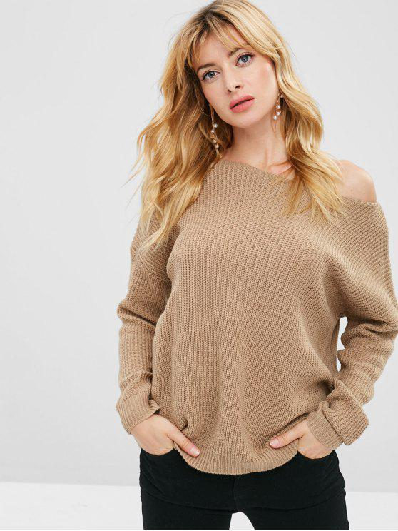 shop Loose One Shoulder Sweater - TAN ONE SIZE