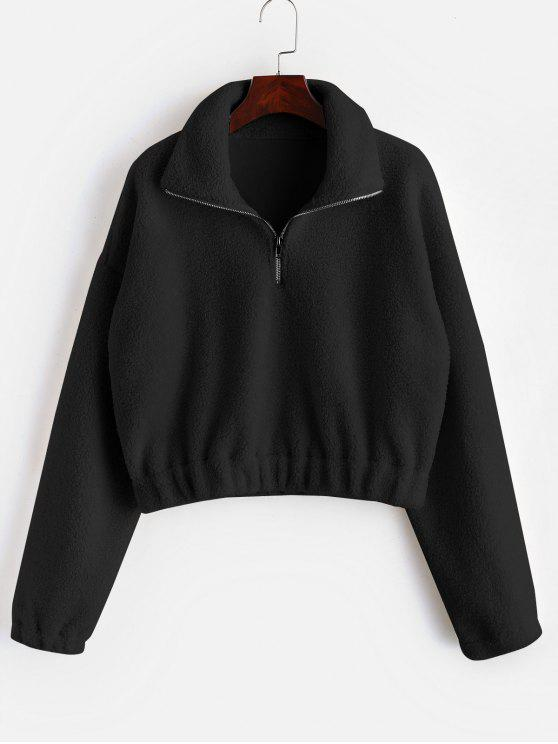 trendy Half Zip Plain Faux Fur Sweatshirt - BLACK S