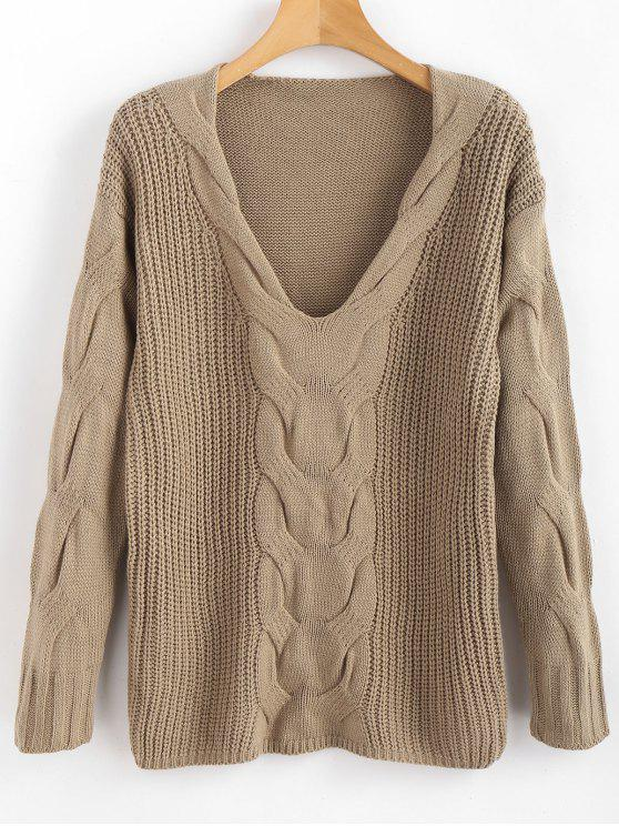 fancy Pullover Cable Knit V Neck Sweater - DARK KHAKI L