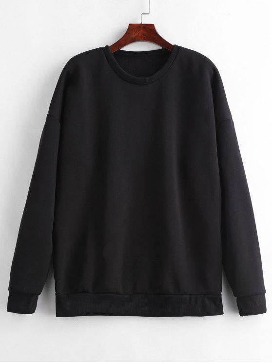 unique Fleece Lining Tunic Sweatshirt - BLACK L