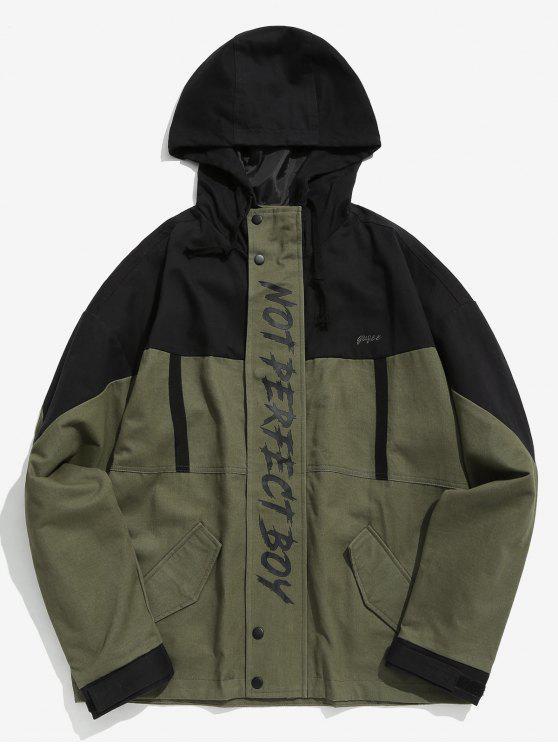 women's Printed Color Block Hoodie Jacket - ARMY GREEN L