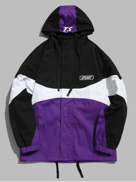 shop Color Block Drawstring Hoodie Jacket - PURPLE L
