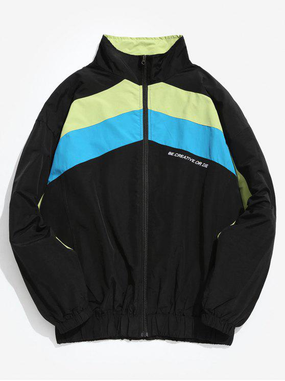 shop Hit Color Splicing Windproof Jacket - BLACK XL