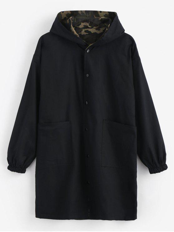 lady Camo Reversible Long Hooded Coat - BLACK XL