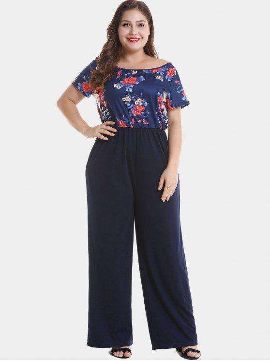 180e84e7ac2 2018 Floral Plus Size Wide Leg Jumpsuit In MIDNIGHT BLUE 1X