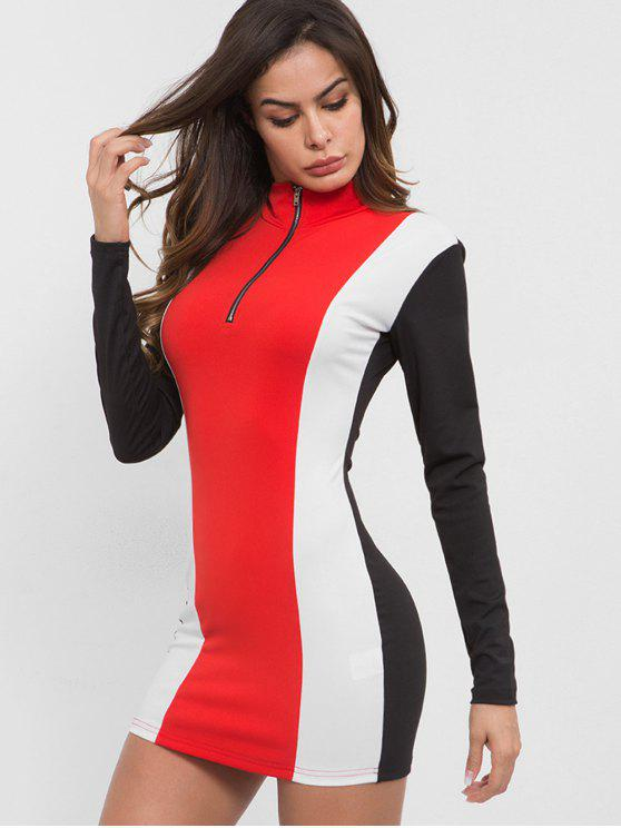 chic Mock Neck Contrast Bodycon Dress - MULTI L