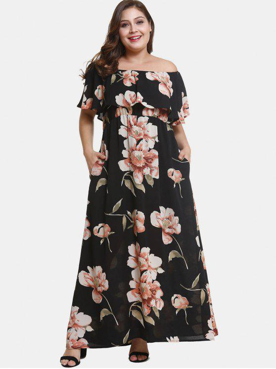 sale Off Shoulder Plus Size Flower Print Dress - BLACK 3X