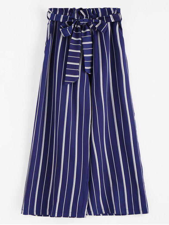 31d76dd6ed80 52% OFF] 2019 Wide Leg Belted Striped Pants In DEEP BLUE | ZAFUL