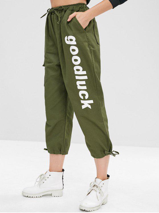 Pantalon de poche avec cordon de bonne chance - Vert Armée  L