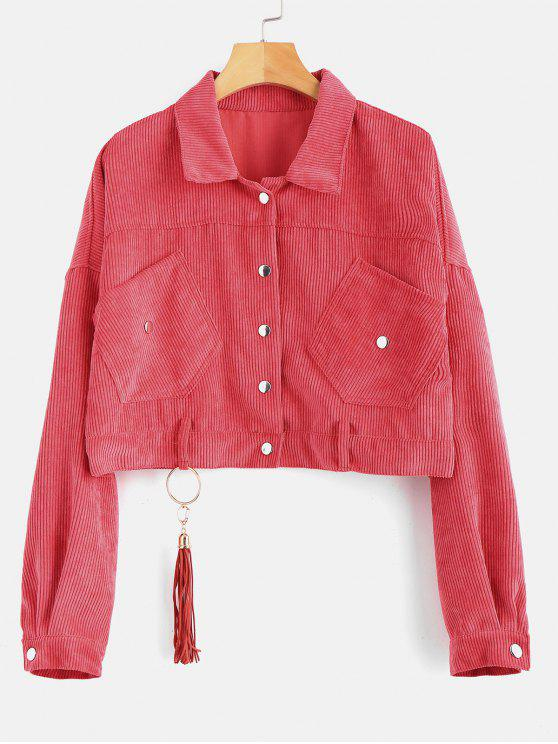 best Cropped Snap Button Corduroy Jacket - LIGHT CORAL ONE SIZE