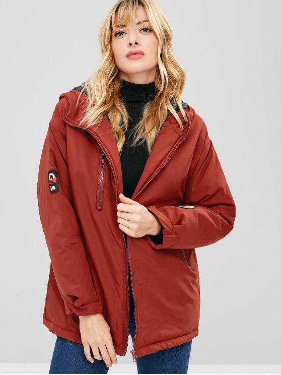 chic Letter Applique Hooded Longline Coat - RED WINE L