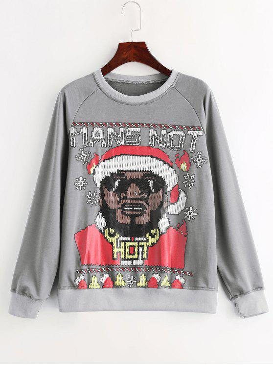 ladies Man Graphic Christmas Sweatshirt - GRAY XL