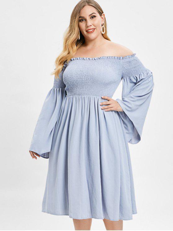 affordable ZAFUL Smocked Plus Size Flare Sleeve Dress - BLUE GRAY 3X