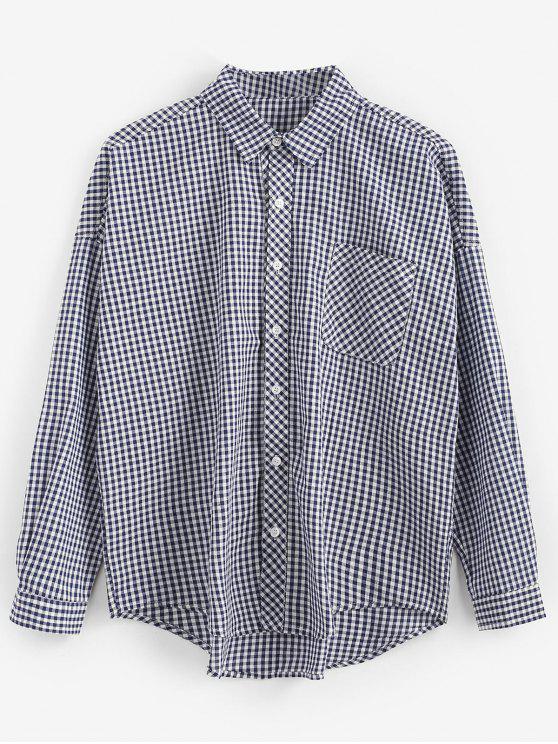 Chemise à Carreaux à Ourlet Haut Bas - Bleu L