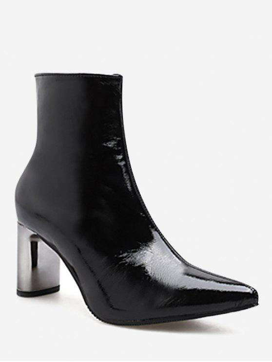 89215d233207b 40% OFF] 2019 Pointed Toe Plated Chunky Heel Boots In BLACK | ZAFUL ...