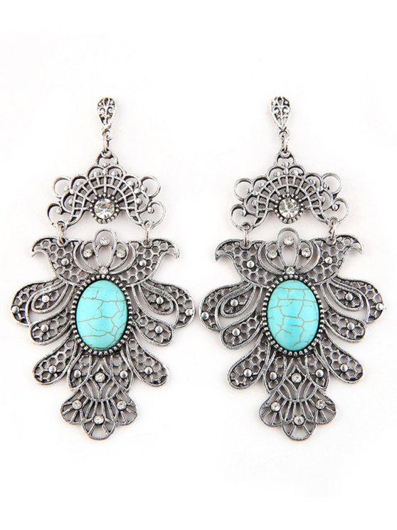 new Artificial Turquoise Floral Design Earrings - SILVER